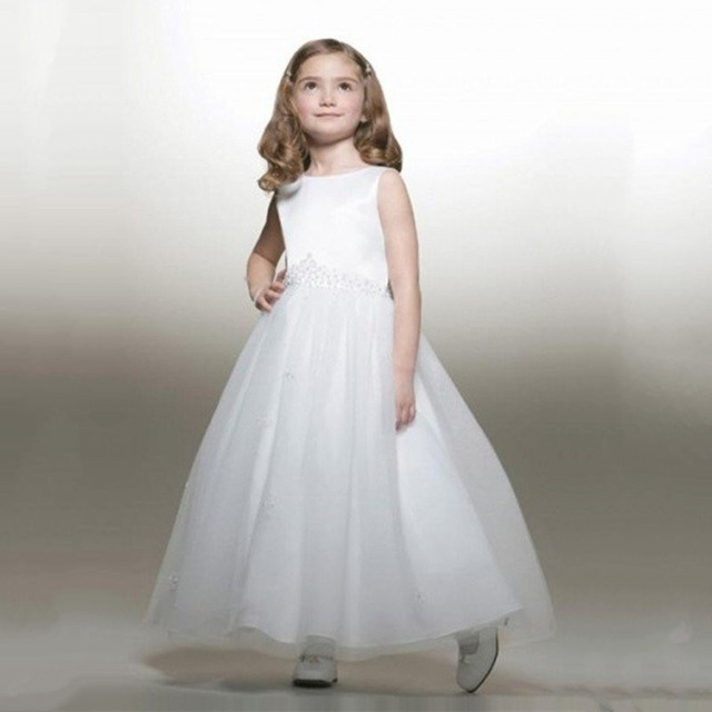 2018 NEW White Organza Girls Pageant Dresses Cute Ball Gown Flower ...