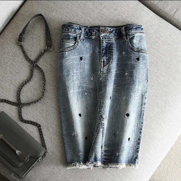 Pour les femmes Denim jupe étoiles cœurs broderie veste pour homme mode Chic femme été lavé Hip Pack Burr jupes