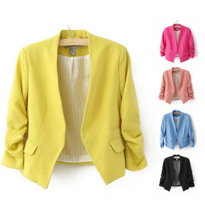 Basic Jacket Blazer Women Suit Casual Ladies Office Workwear Shorts Blazer Feminino Elegant Slim Plus Size Suit Jacket Coat Q396