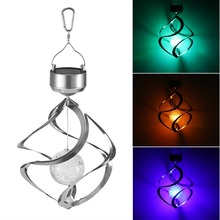 PANYUE Solar Wind Chime LED Color Changing Hanging Light Decorative Powered Spinner for Garden