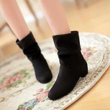 2016 new fashion velvet boots scrub women's martin boots shoes spring and autumn boots female cotton boots low thick heel L090