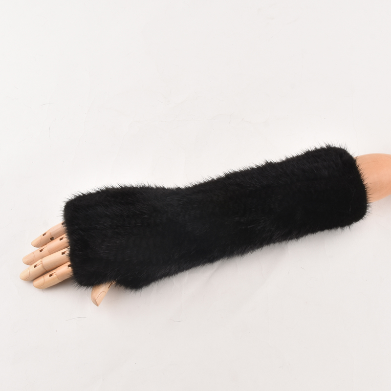 Winter Mink Fur Gloves For Women  Real Fur Gloves New Women  Fashion Elasticity Genuine Glove Knitted Long Mink Fur Fingerless