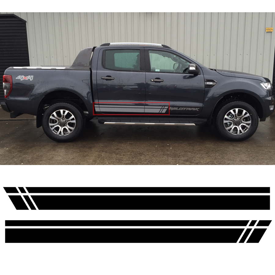 2 PC Gradient side stripe graphic Vinyl sticker for  Ford ranger 2012 2013 2014 2015 2016 2017 sticker 2 pc hilux hilux chequered racing side stripe graphic vinyl sticker for toyota hilux decals
