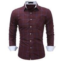 قمصان 2018 جديد أزياء ماركة الرجال الملابس ضئيلة تناسب الرجال قميص الرجال منقوشة قميص طويل الأكمام الرجال قميص الاجتماعي زائد الحجم M-XXXL