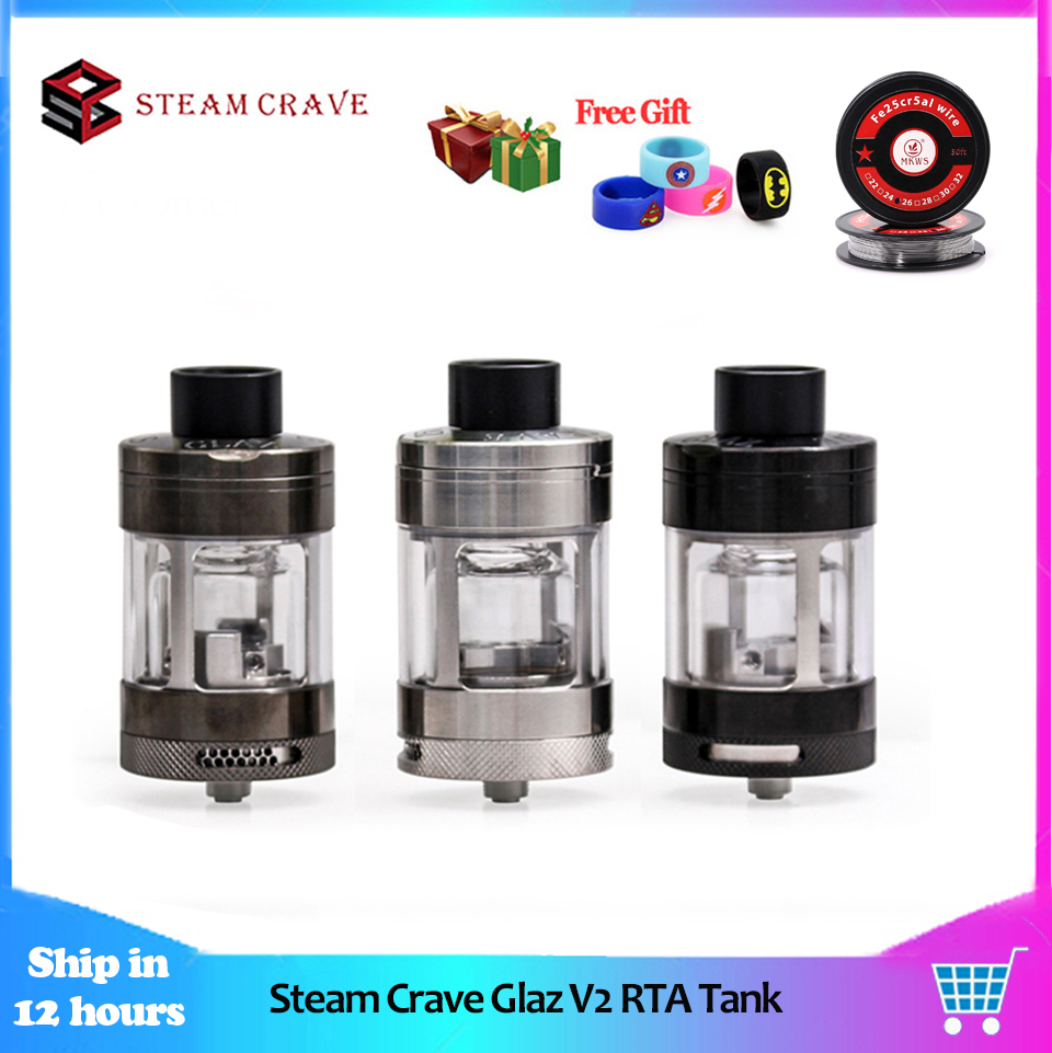 Original Steam Crave Glaz V2 RTA Electronic Cigarette Vape Atomizer 31mm 7ml 10ml Capacity semi restrictive