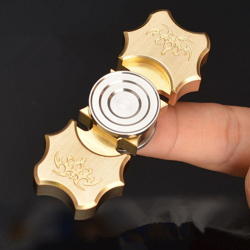 Carved bat designs copper Hand Spinner Fingertip Finger Top Gyro Toys EDC ADHD Fidget Hand Spiner Spiral Desktop Anti Stress toy metal stress relief spinner toy hand finger gyro