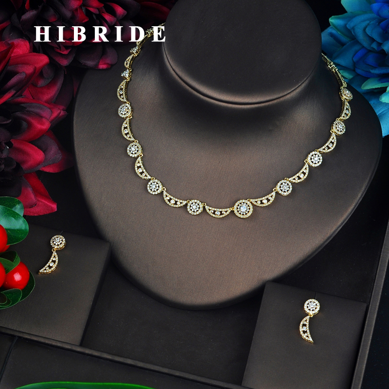 HIBRIDE Fashion Gold Color Dubai Jewelry Sets Women Bridal Jewelry Unique Design Cubic Zircon pendientes mujer Set N-655HIBRIDE Fashion Gold Color Dubai Jewelry Sets Women Bridal Jewelry Unique Design Cubic Zircon pendientes mujer Set N-655