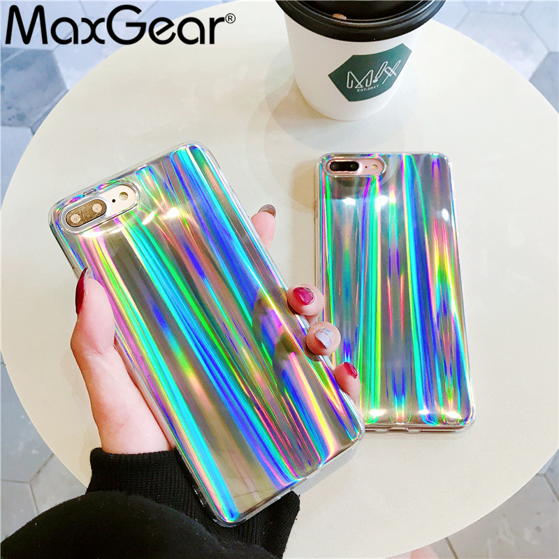 Maxgear  Glitter Phone Case For Iphone 8 X Cool Laser Shining Case For Iphone 7 6 6S Plus 5 5S SE Soft TPU Silicone Cover