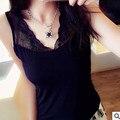 Plus Size 2016 marca camiseta ropa del verano mujeres Tops moda Sexy con cuello en v Tops Lace Patchwork sin mangas t-shirt femme FB034