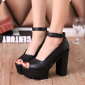 Solid color PU high heels women shoes sandals 2016 fashion sexy Fish head sandals woman