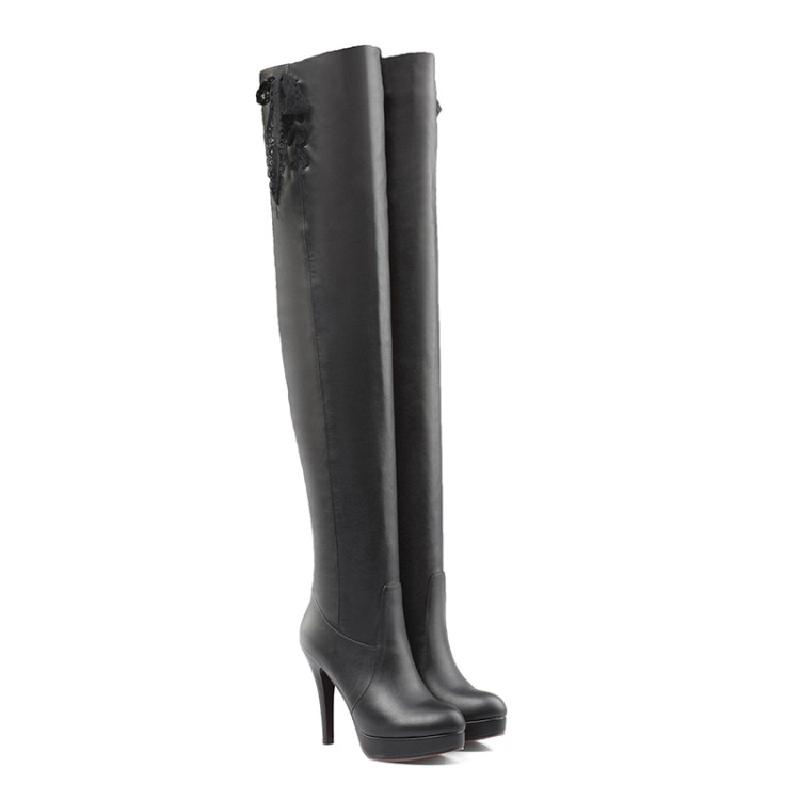 SALCXOI spring/autumn boot women platform PU super high heels shoes black white over the knee boots woman free shipping &2113 newest women half knee high motorcycle boots vintage chunky heels spring autumn outdoor platform shoes woman female boots