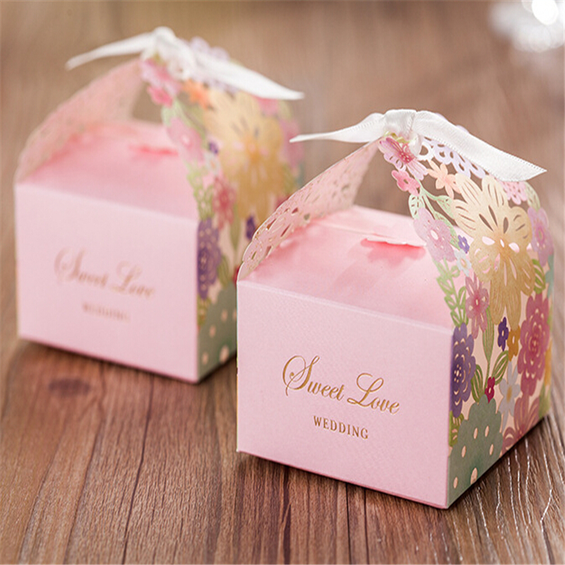 100pcslot Pink Sweet Love Wedding Favor Boxes Wedding Candy Box