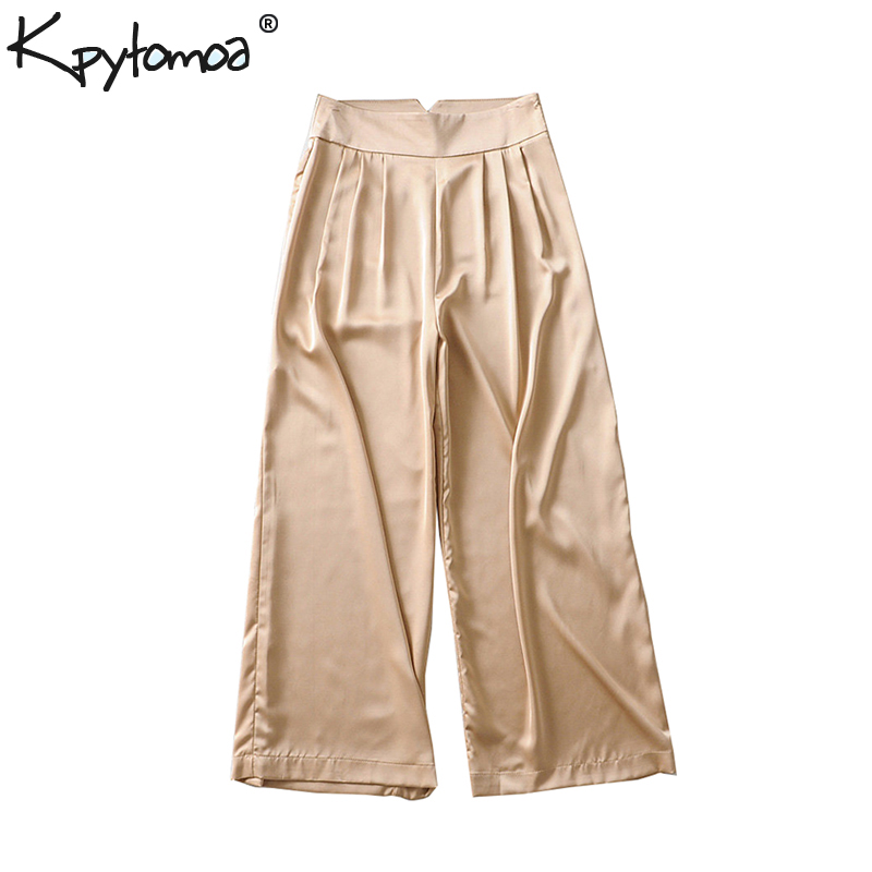 Vintage Stylish Soft Touch Pleated   Wide     Leg     Pants   Women 2019 Fashion Side Zipper Pockets Office Lady Trousers Casual Pantalones