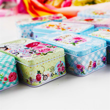 5Piece/Lot Big Flower Tin Box 11.5*6.5*4Cm Macaron Business metal Box For Tea Big Size Mac Make Up Organizer Desktop Decoration(China)