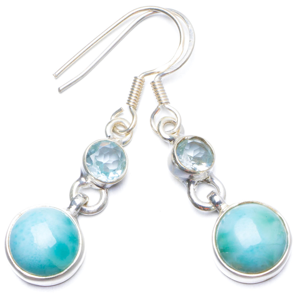 Natural Caribbean Larimar and Blue Topaz Handmade Unique 925 Sterling Silver Earrings 1.5 Y0254