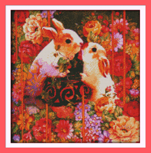 The happy rabbit lovers cross stitch kit 14ct 11ct pre stamped canvas cross stitching animal embroidery DIY handmade needlework
