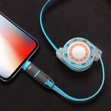 Micro usb Retractable 2 in 1 charging cable for iPhone 11 Pro Max XS XR 8Plus 7P 6G 6s For Lightning Fast Cable USB 2A