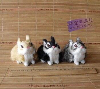 10 pieces a lot cute small simulation rabbit toys polyethylene & furs mini rabbit dolls gift about 8x5x6cm 0800