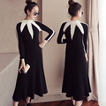 women's dress  winter Knitting sweater cultivate one's morality Knitting sweater Black and white dress Fat MM