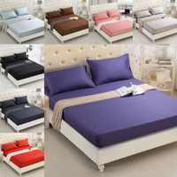 Sábanas de cama cepilladas sábana ajustada Color sólido ST01 colchón de Hotel funda protectora negro púrpura gris alrededor de banda elástica ropa de cama