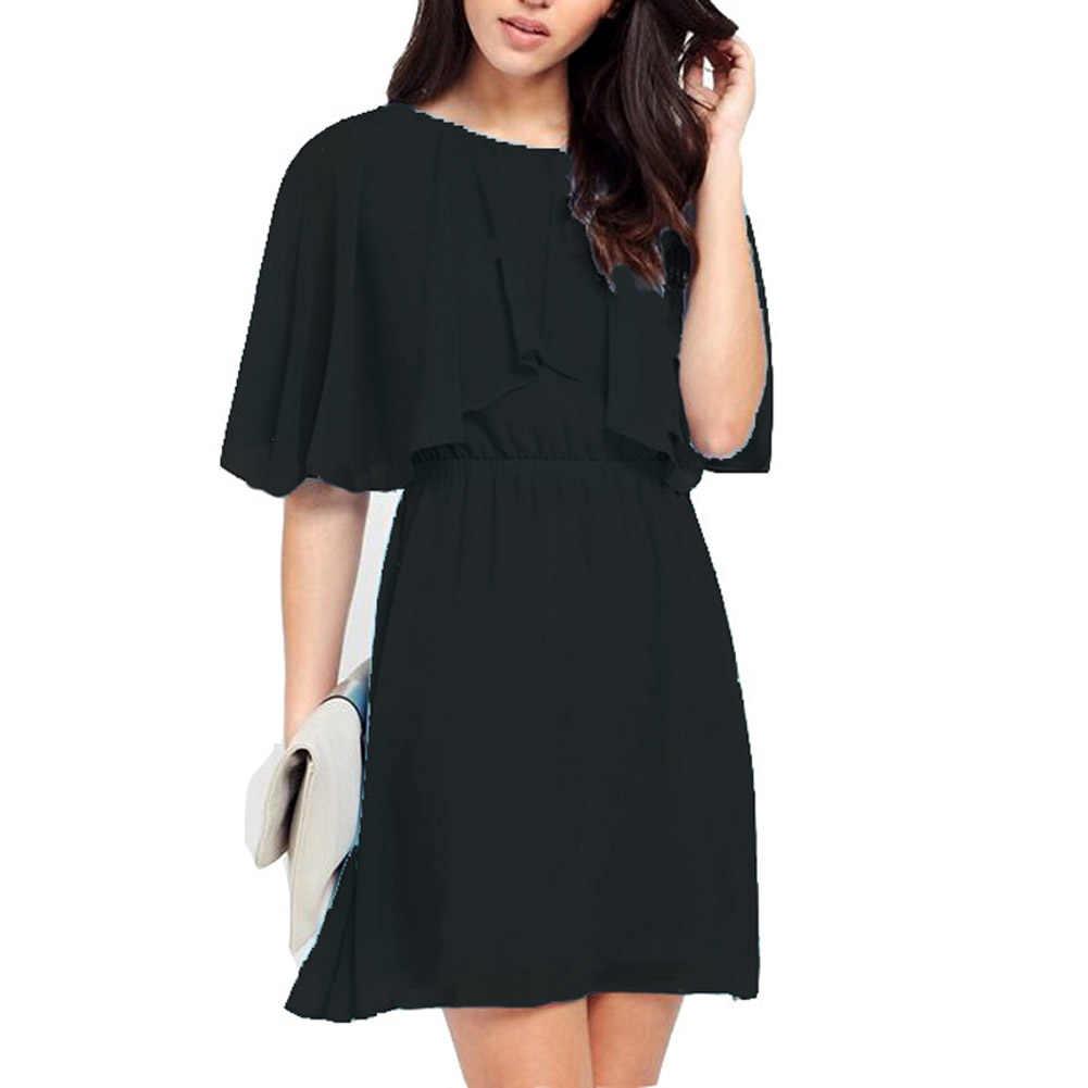 Fashion Women Loose Chiffon Ruffle Dress Half Sleeve Casual Summer Beach Party Dresses Plus Size 5XL FS99