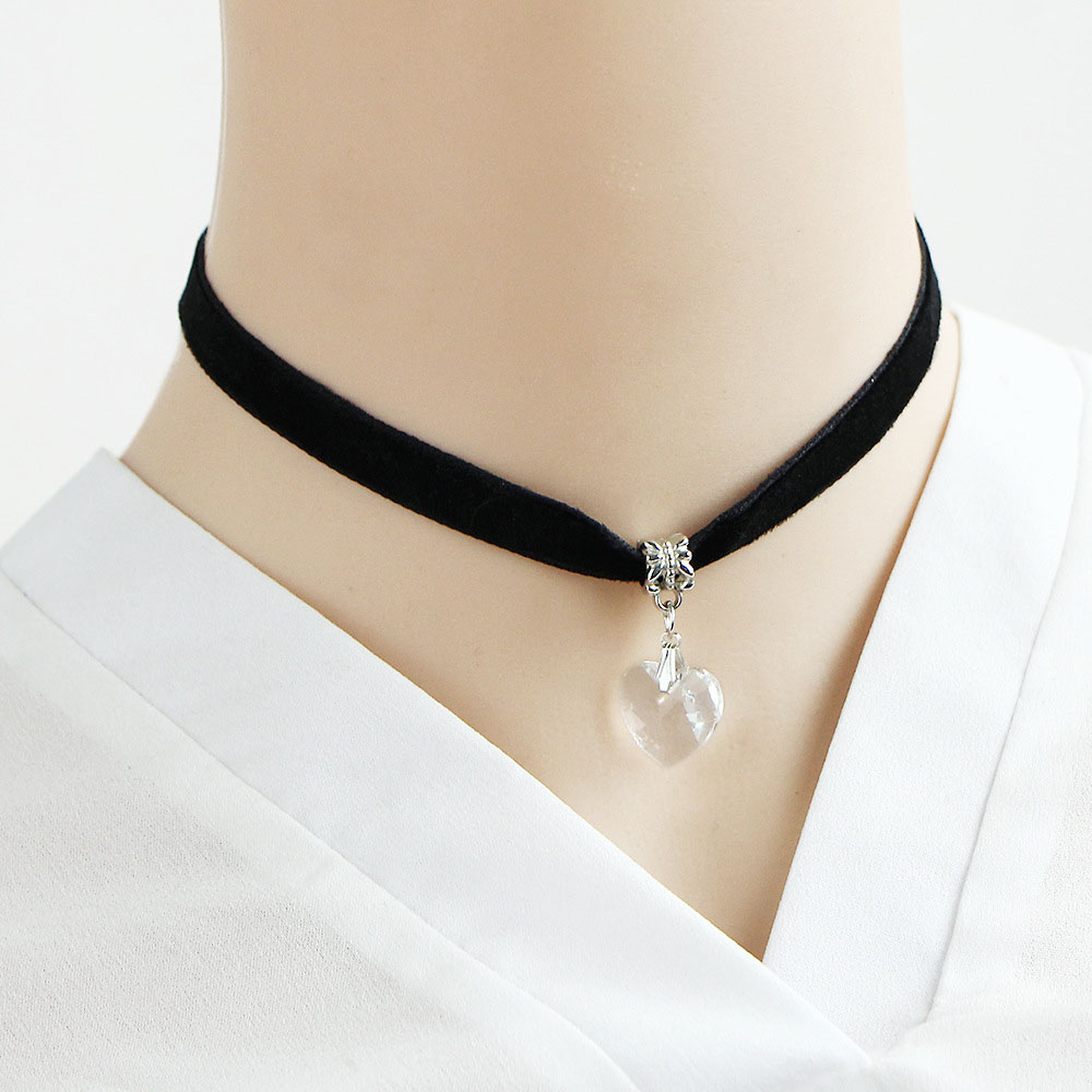 b8757f88e87 Women Velvet Crystal Heart Choker Necklaces Love Charm Pendant Silver  Plated Black Leather Necklace Punk Jewelry Accessories