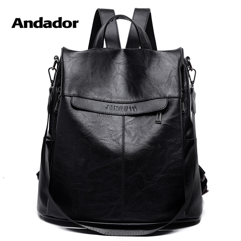 Anti-Theft Backpack Travel-Shoulder-Bag Women Casual New-Fashion Pu Larger Capacity Hight-Quality