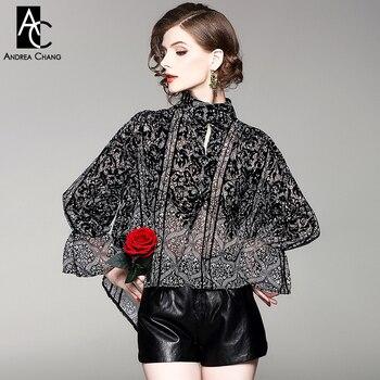 spring summer woman blouse shirt black white vintage pattern print transparent shirt flare sleeve stand collar loose shirt Рубашка