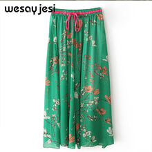 hot deal buy 2018 summer women skirt vintage flower floral print natural waist ball gown pleated bohemia casual floral chiffon skirt