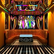 Customized mural large 3D  painting with colorful Dynamic motion suitable for box wall as background wallpaper in KTV room stage