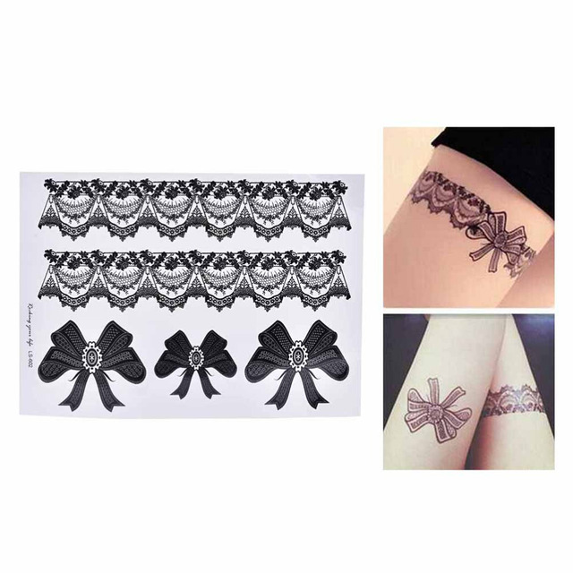 1 Pcs Black Waterproof Temporary Tattoo Sticker on Body Leg Water Transfer Sexy Lace Stocking Fake Flash Tattoo for Girl Women 1