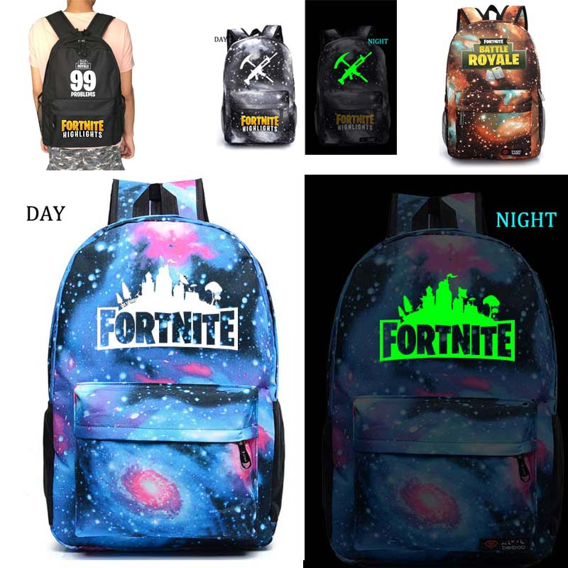 Fortnite batalla Royale escuela noctilucous escuela estudiante mochila portátil mochila diaria