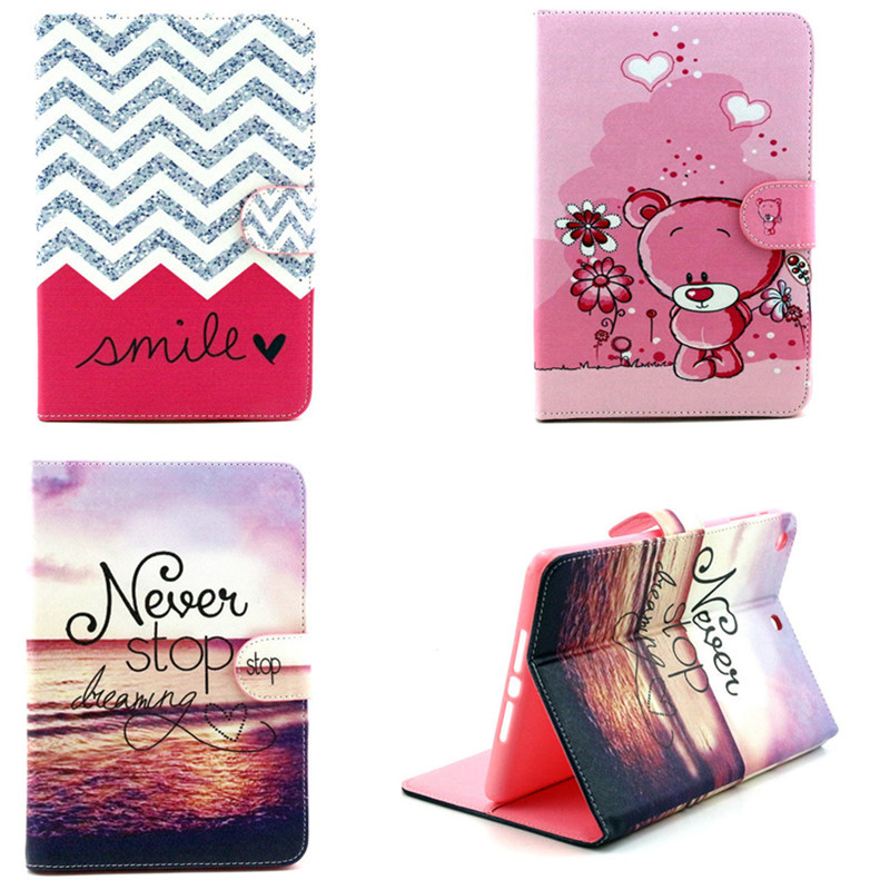 YH For iPad Mini 1 2 3 retina Case Stand Cover Cute Printing Pattern PU Leather With Card Holder Cases for mini1 mini2 mini3