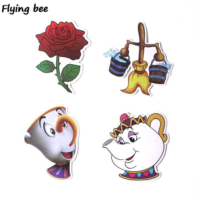 Flyingbee 18 pièces Beauté et la Bête Autocollants pour Enfants bricolage Bagages Ordinateur Portable Skateboard Voiture Vélo Étanche Autocollant X0292