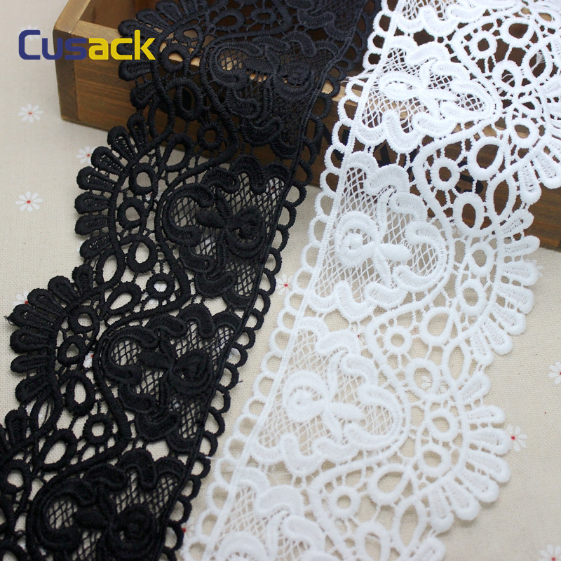 3 meter 8.5 cm White Black Lace Trims Ribbon Applique for Costume Trimmings Home Textiles DIY Sewing Lace Fabric Milk Fiber