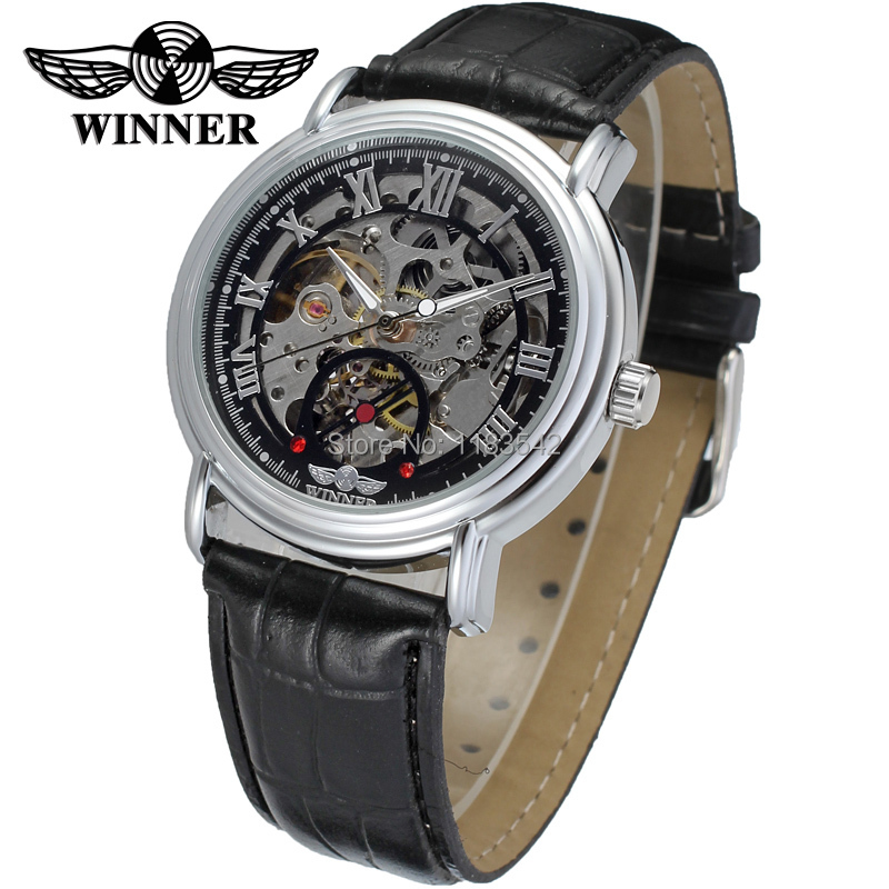 New Winner Casual Automatic Watches Men Hot sale silver Automatic fashion Men Watch leather strap Shipping Free WRG8075M3S1 new business watches men top quality automatic men watch factory shop free shipping wrg8053m4t2