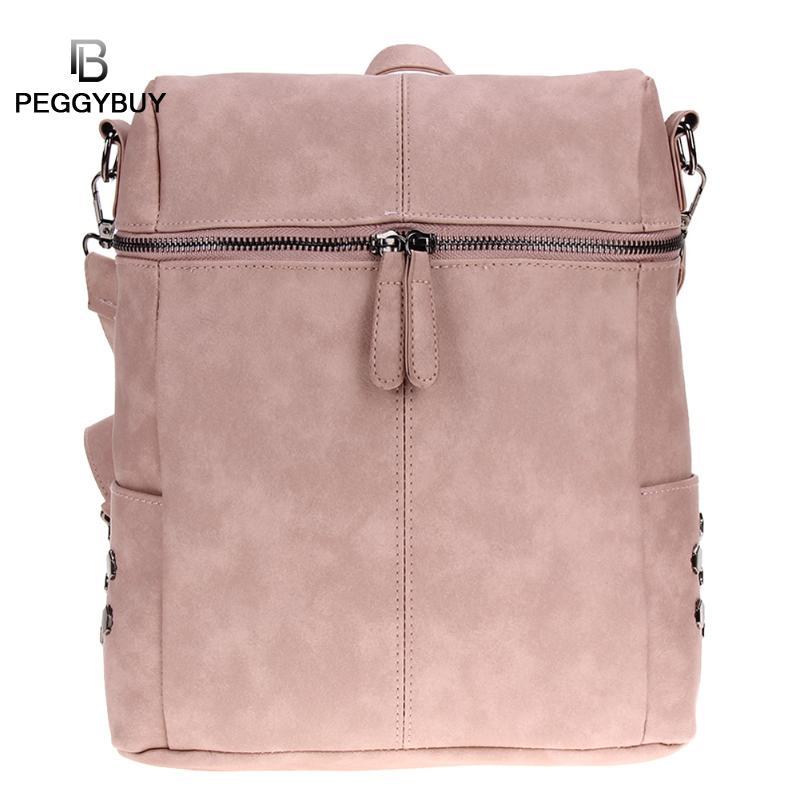 Women Vintage Backpack Rivet Pu Leather Backpack For Girls Simple School Bag Solid Shoulder Bag Laptop Backpack Feminina Mochila