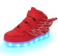 Yeni Yaz Bahar Sonbahar Melek Kanatları Serisi Çocuklar LED ışıklı ayakkabı parlayan sneakers Erkek Kız USB Şarj Rahat ışık Ayakkabı