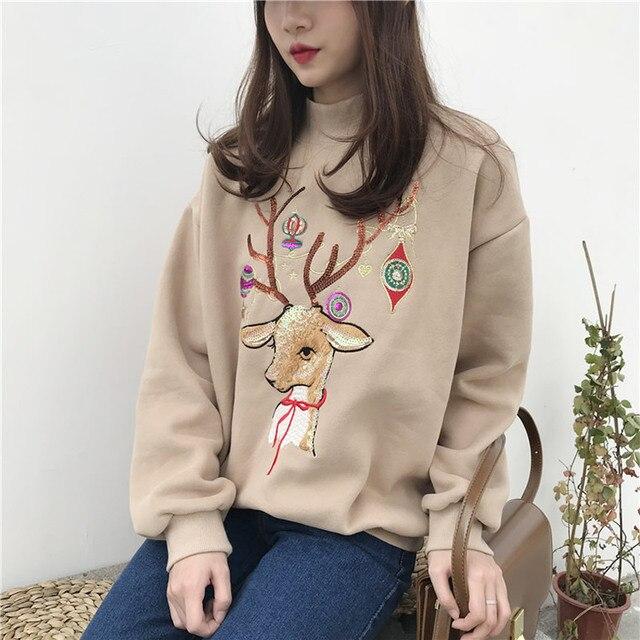 Christmas Deer Sweatshirt Women Winter Cotton O Neck blue red Jumper Knitted Pullover Sweatshirt Female Long Sleeve