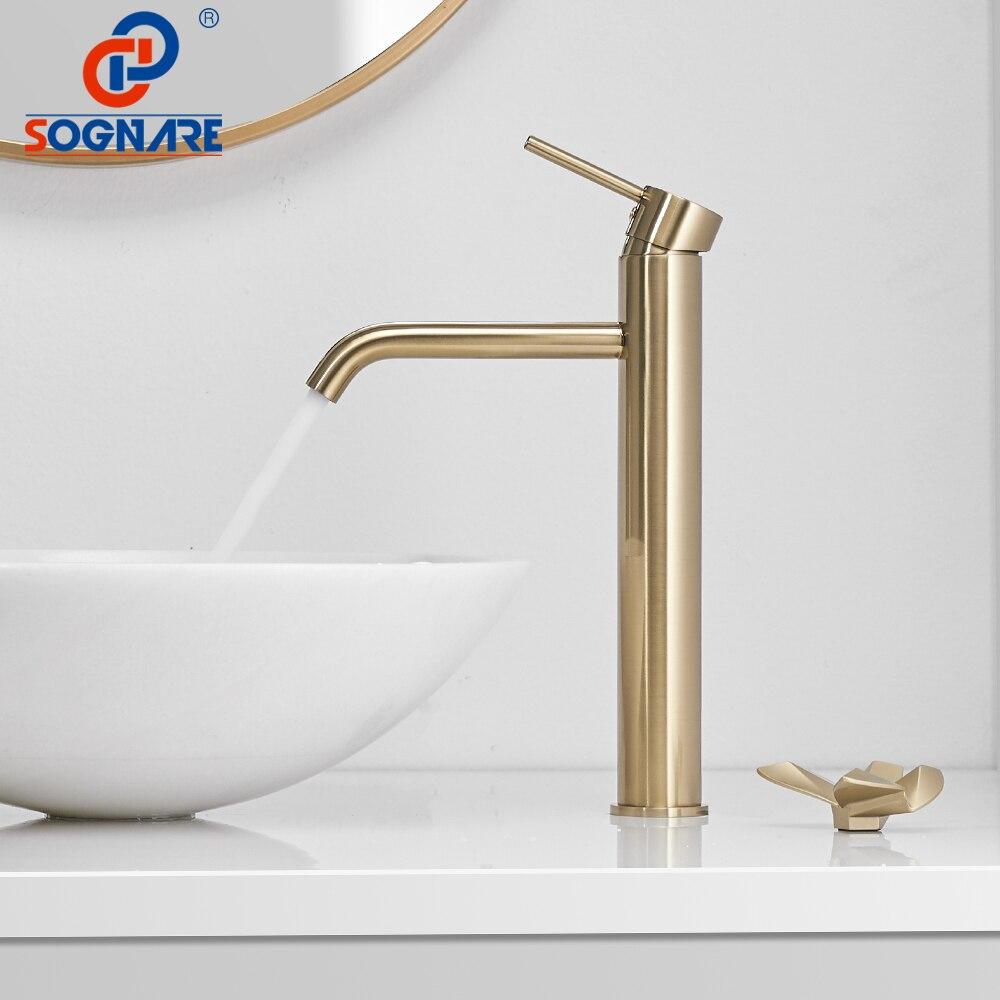 SOGNARE Becken Wasserhahn Bad Wasserhahn Mischer Wasserhahn Luxus  Wasserfall Tap Groß Badezimmer Becken Wasserhahn in Gebürstet Gold  Mischbatterien