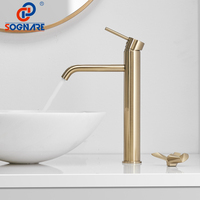 SOGNARE Basin Faucet Bathroom Faucet Mixers Water Tap Luxury Waterfall Tap Tall Bathroom Basin Faucet in Brushed Gold Mixer Taps