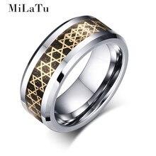 Milatu hombres anillo de bodas tungsten acero fibra de carbono chapado en oro hexagrama estrella 8mm de ancho anillo de la joyería masculina de alta calidad r267gg