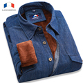 Langmeng 2016 new men winter  dress shirt long sleeve hot denim casual shirts plus velvet 3 solid color wash jeans brand shirts