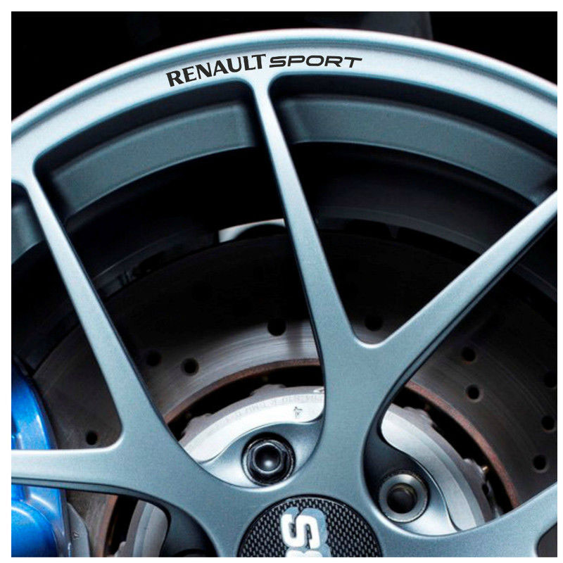 4pcs For RENAULT SPORT Rims Alloy Wheels Curved Decals Stickers Clio Megane Twingo