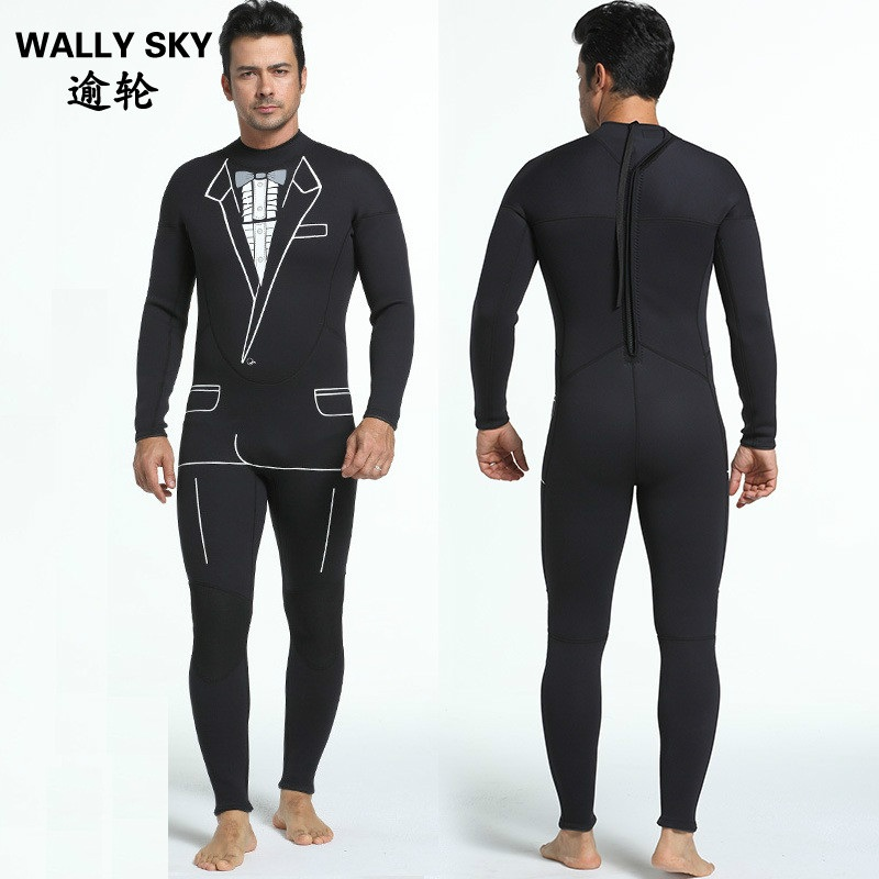 Unique individuality design with collar suit printing Men 3MM Neoprene SCR Scuba Diving Suit  Wetsuit Man Swimming Suit Clothing цена