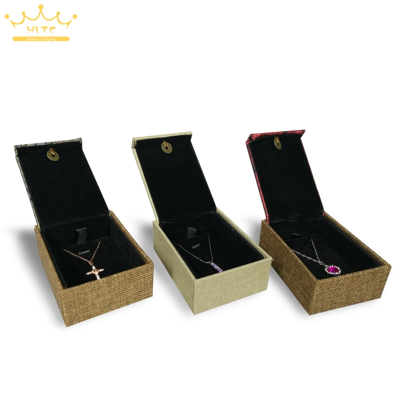 Linen Jewellery: Linen Jewelry Gift Box 3 Color Necklace Cases Jewellery