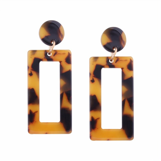 4e8e7c9fa Retro style acetate style of the tortoise shell nail earrings personality  geometric elements fashion drop earrings