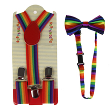 HUOBAO New Fashion Multicolor Adjustable Rainbow Stripe Print Suspender And Bow Ties Sets For Kids Boys