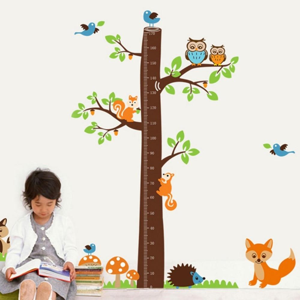 Cute owl squirrel bird cartoon height measure wall stickers animal zm1350800 c 10 1 geenschuldenfo Choice Image