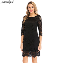 цена на Aamikas Spring Summer Womens Elegant Sexy Lace See black Lace Through Open Back Party Clubwear Sheath Bodycon Dress